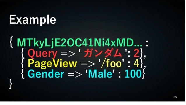 35 Example { MTkyLjE2OC41Ni4xMD... : { Query => ' ガンダム ': 2}, { PageView => '/foo' : 4}, { Gender => 'Male' : 100} }