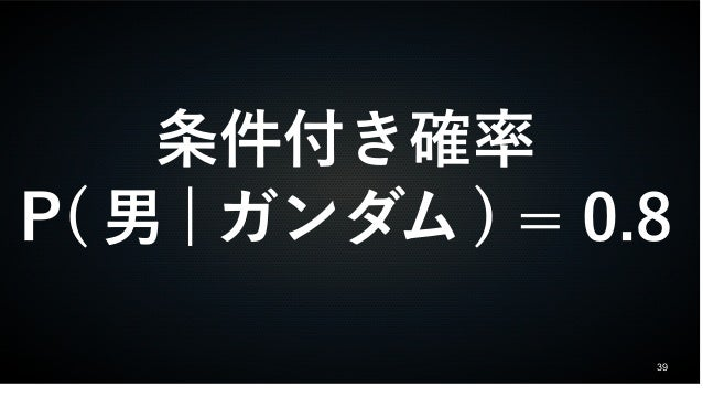 39 条件付き確率 P( 男 | ガンダム ) = 0.8