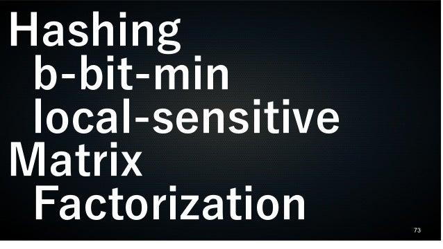 73 Hashing b-bit-min local-sensitive Matrix Factorization
