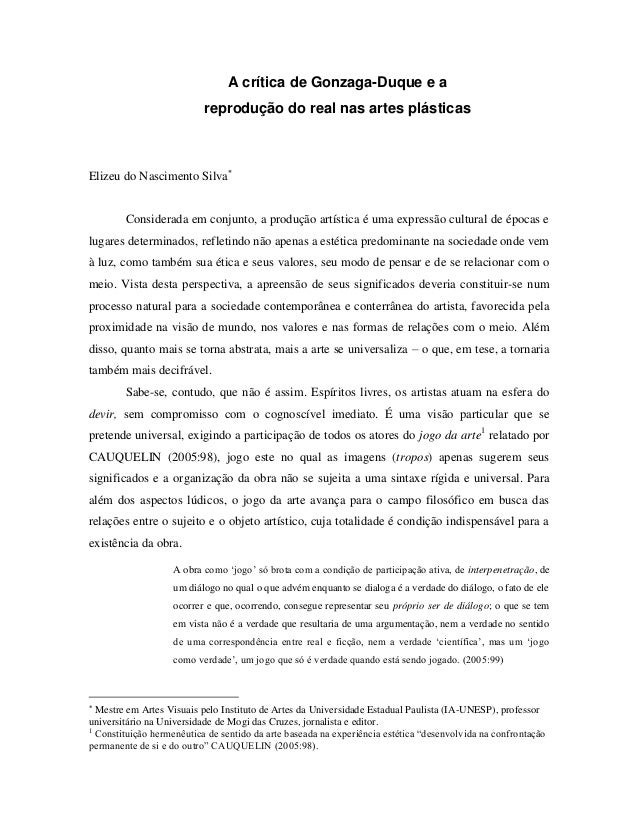 A crítica de Gonzaga-Duque e a                           reprodução do real nas artes plásticasElizeu do Nascimento Silva...
