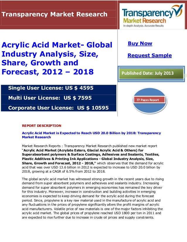 REPORT DESCRIPTION Acrylic Acid Market is Expected to Reach USD 20.0 Billion by 2018: Transparency Market Research Market ...
