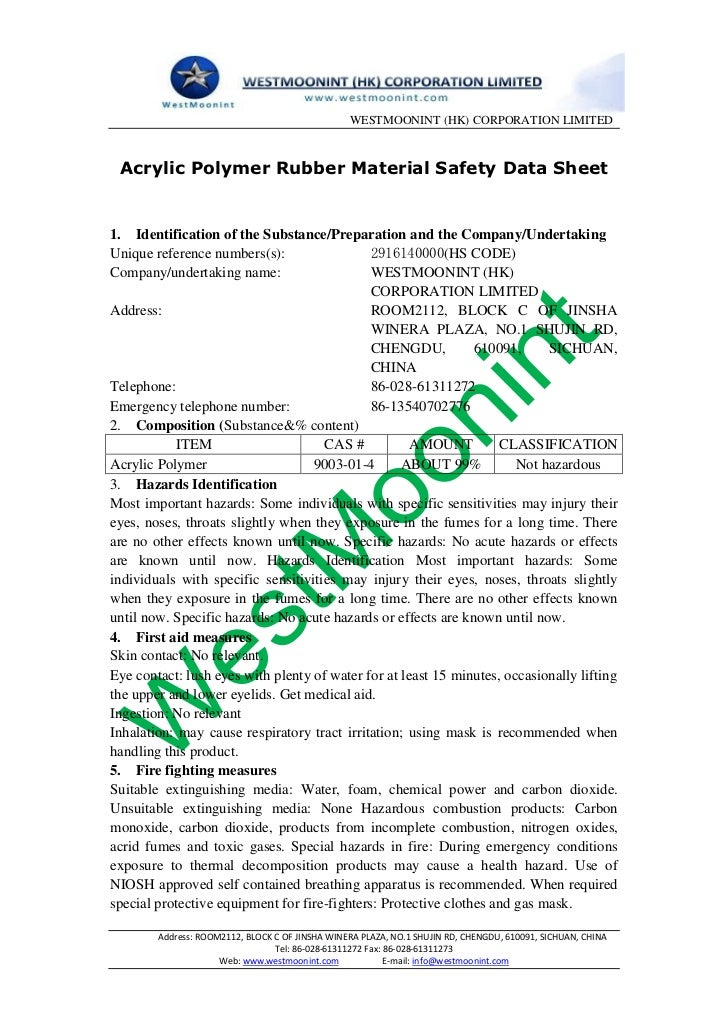 Acrylic polymer rubber material safety data sheet