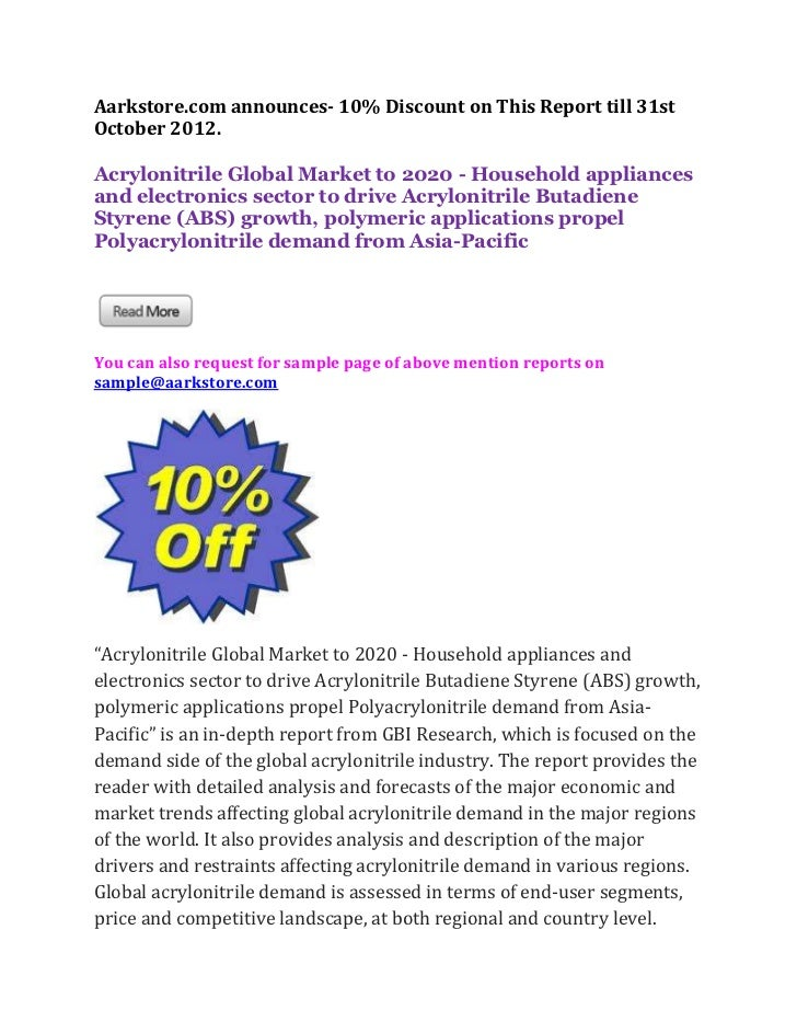 Aarkstore.com announces- 10% Discount on This Report till 31stOctober 2012.Acrylonitrile Global Market to 2020 - Household...