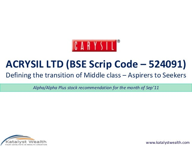 ACRYSIL LTD (BSE Scrip Code – 524091) Defining the transition of Middle class – Aspirers to Seekers Alpha/Alpha Plus stock...