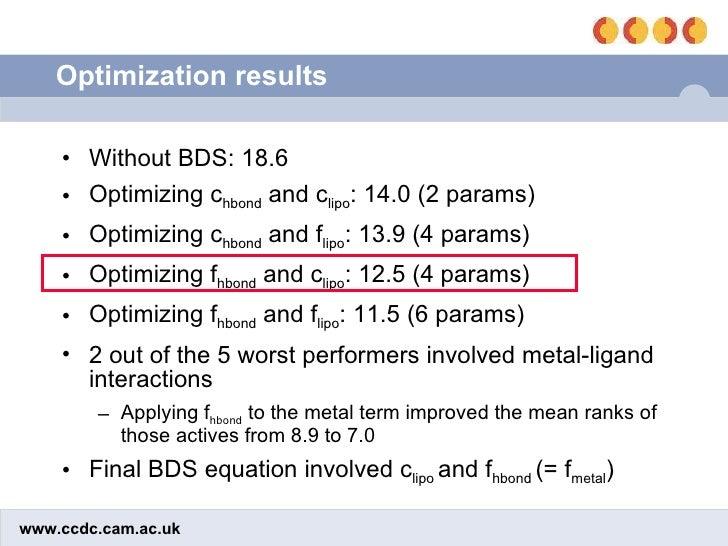Optimization results <ul><li>Without BDS: 18.6 </li></ul><ul><li>Optimizing c hbond  and c lipo : 14.0 (2 params)  </li></...