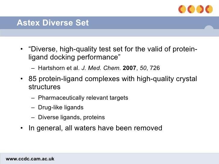 "Astex Diverse Set <ul><li>"" Diverse, high-quality test set for the valid of protein-ligand docking performance"" </li></ul>..."
