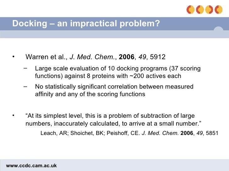 Docking – an impractical problem? <ul><li>Warren et al.,  J. Med. Chem. ,  2006 ,  49 , 5912 </li></ul><ul><ul><li>Large s...