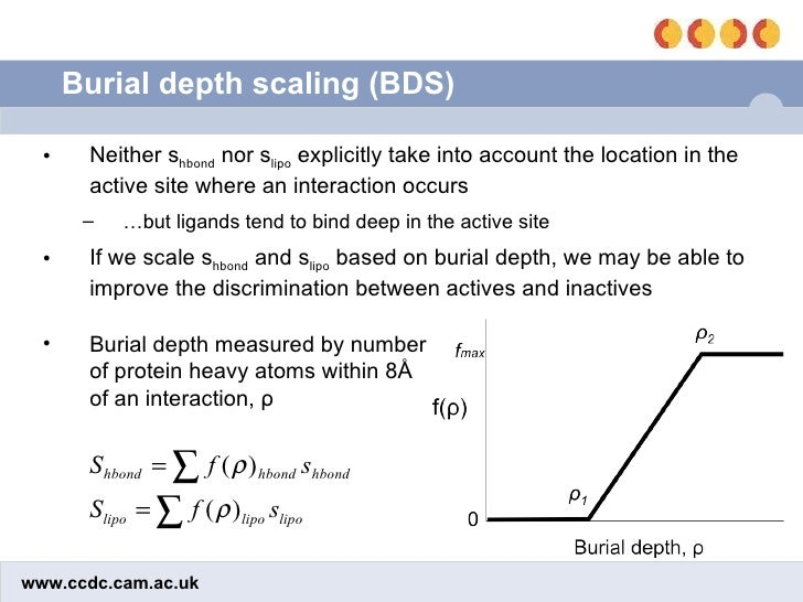 Burial depth scaling (BDS) <ul><li>Neither s hbond  nor s lipo  explicitly take into account the location in the active si...