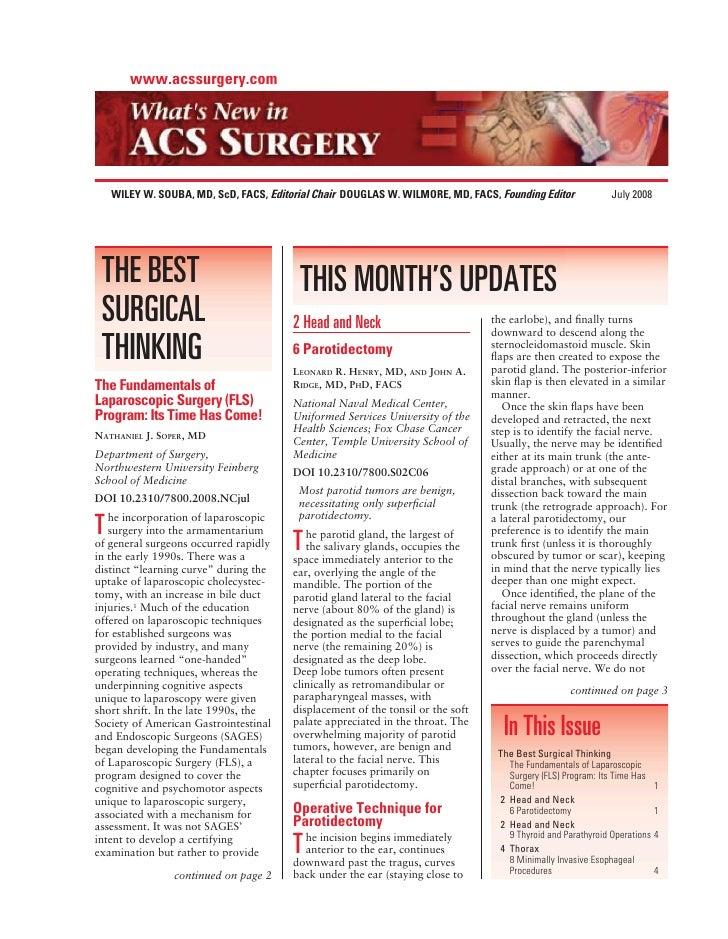 www.acssurgery.com         WILEY W. SOUBA, MD, ScD, FACS, Editorial Chair DOUGLAS W. WILMORE, MD, FACS, Founding Editor   ...