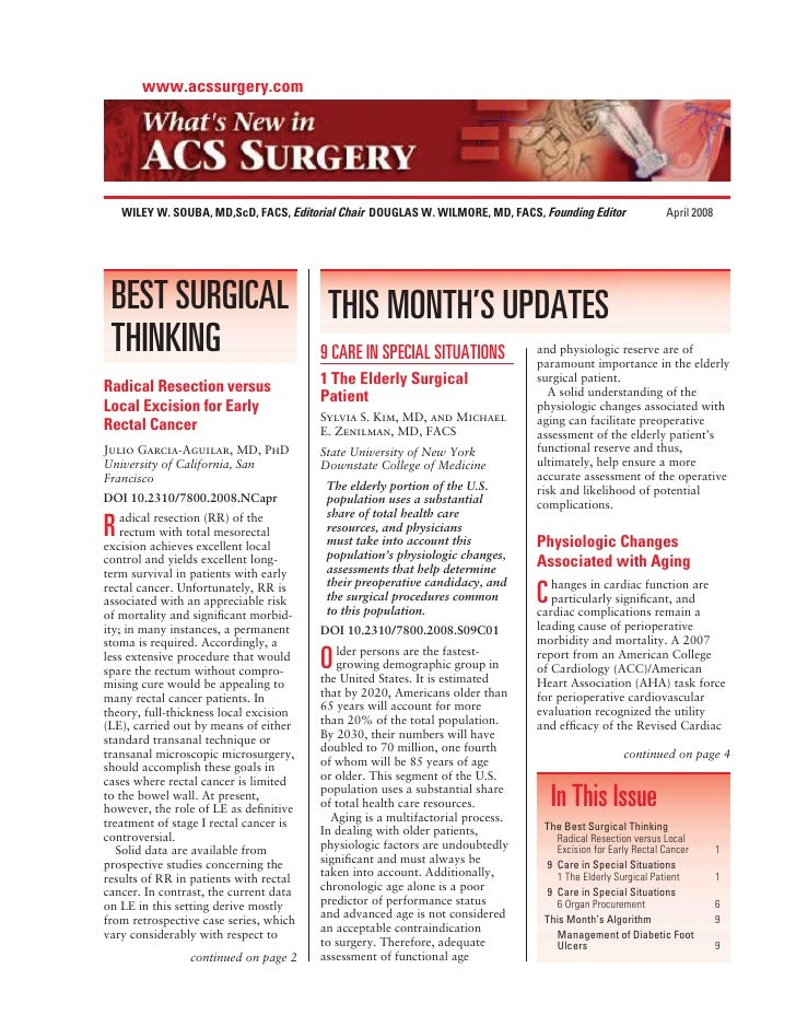 www.acssurgery.com         WILEY W. SOUBA, MD,ScD, FACS, Editorial Chair DOUGLAS W. WILMORE, MD, FACS, Founding Editor    ...