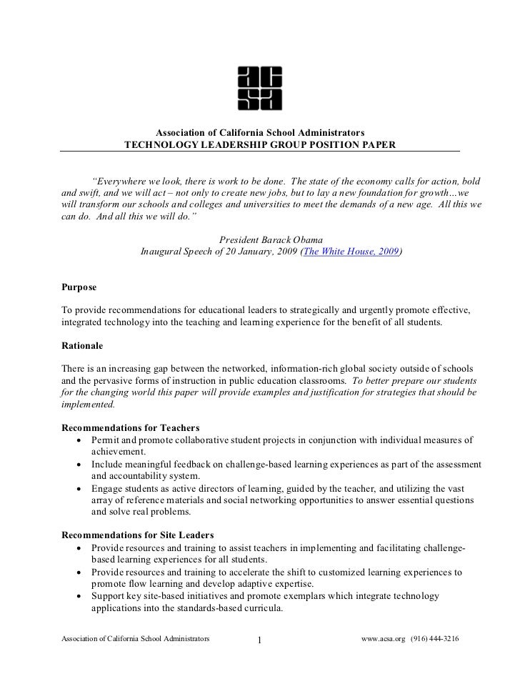 """Association of California School Administrators                     TECHNOLOGY LEADERSHIP GROUP POSITION PAPER           """"..."""