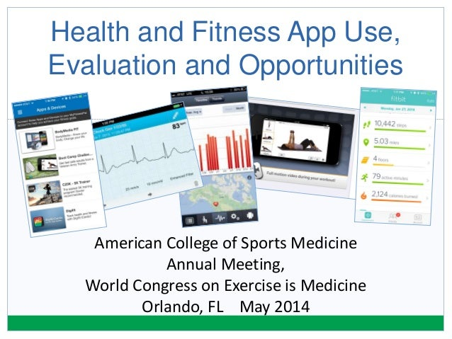 Health and Fitness App Use, Evaluation and Opportunities American College of Sports Medicine Annual Meeting, World Congres...