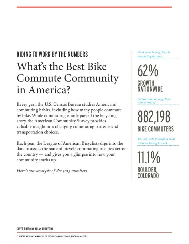 Where We Ride: Analysis of Bicycling in American Cities 2014 Slide 2