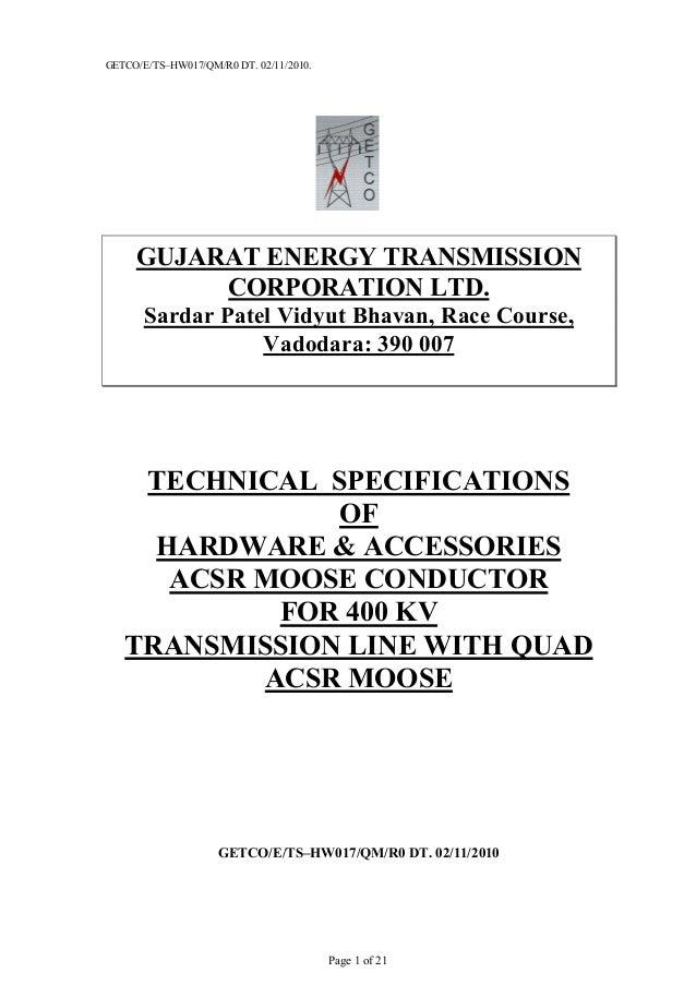 GETCO/E/TS–HW017/QM/R0 DT. 02/11/2010.Page 1 of 21GUJARAT ENERGY TRANSMISSIONCORPORATION LTD.Sardar Patel Vidyut Bhavan, R...
