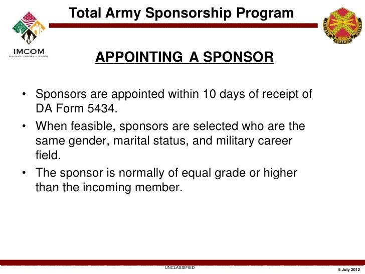 army-community-service-sponsorship-training-13-728 Da Form Sponsorship Examples on