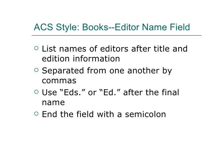 ACS Syle: Books