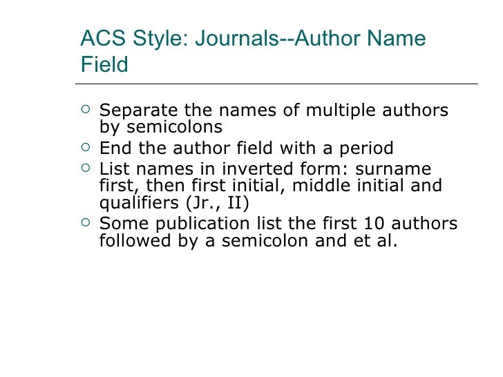 ACS Style: Journal Articles