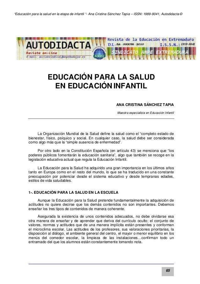 """""""Educación para la salud en la etapa de infantil """"- Ana Cristina Sánchez Tapia – ISSN: 1989-9041, Autodidacta ©  EDUCACIÓN..."""