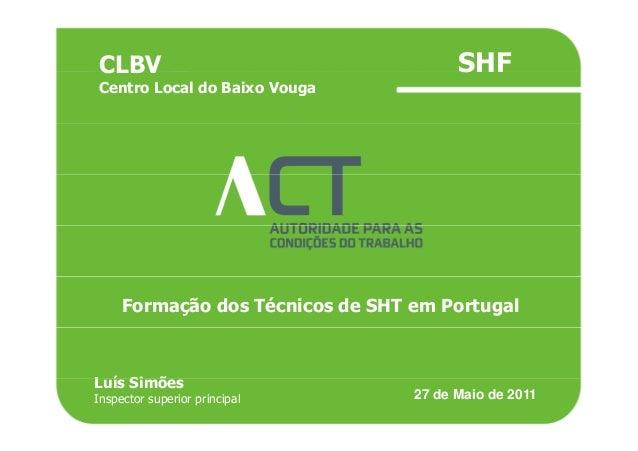 TÍTULO DA APRESENTAÇÃOCLBV SHFTÍTULO DA APRESENTAÇÃOCLBV Centro Local do Baixo Vouga SHF Formação dos Técnicos de SHT em P...