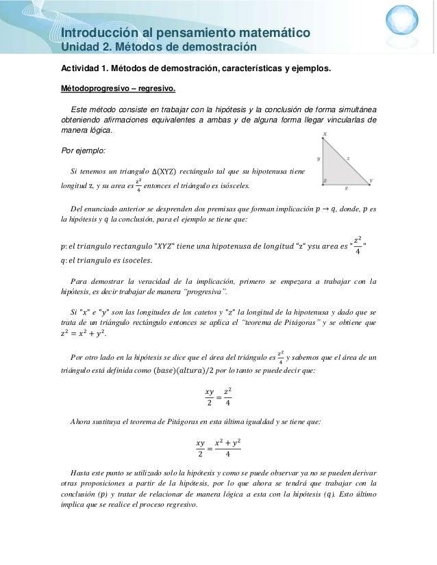 Introducción al pensamiento matemático Unidad 2. Métodos de demostración Actividad 1. Métodos de demostración, característ...