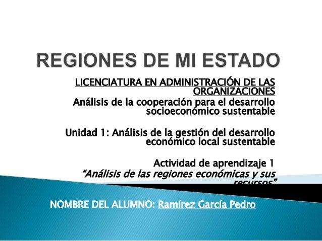 LICENCIATURA EN ADMINISTRACIÓN DE LAS ORGANIZACIONES Análisis de la cooperación para el desarrollo socioeconómico sustenta...