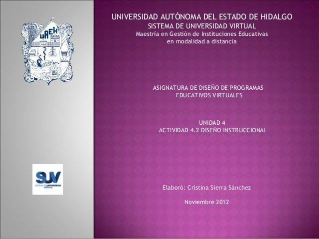 UNIVERSIDAD AUTÓNOMA DEL ESTADO DE HIDALGO SISTEMA DE UNIVERSIDAD VIRTUAL Maestría en Gestión de Instituciones Educativas ...