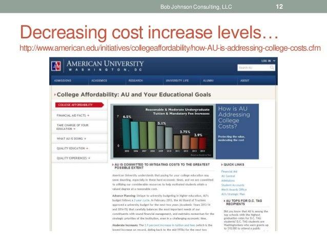 Decreasing cost increase levels… http://www.american.edu/initiatives/collegeaffordability/how-AU-is-addressing-college-cos...