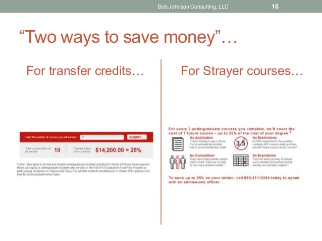 """""""Two ways to save money""""… For transfer credits… For Strayer courses… Bob Johnson Consulting, LLC 16"""