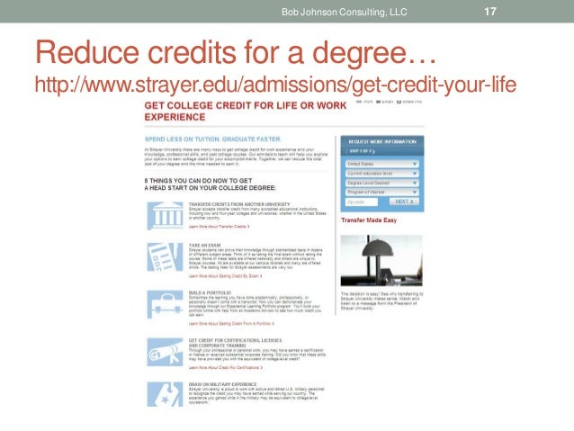 Reduce credits for a degree… http://www.strayer.edu/admissions/get-credit-your-life Bob Johnson Consulting, LLC 17