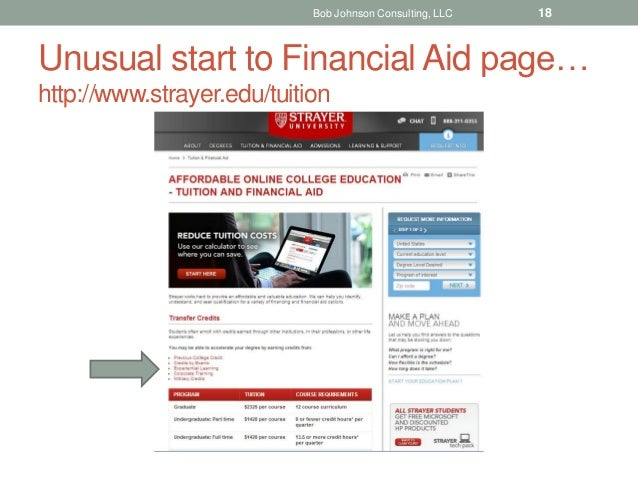 Unusual start to Financial Aid page… http://www.strayer.edu/tuition Bob Johnson Consulting, LLC 18
