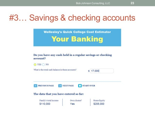 #3… Savings & checking accounts Bob Johnson Consulting, LLC 23