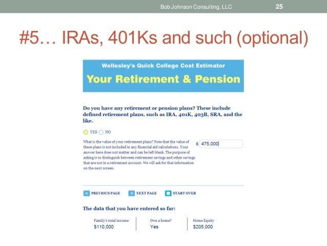 #5… IRAs, 401Ks and such (optional) Bob Johnson Consulting, LLC 25