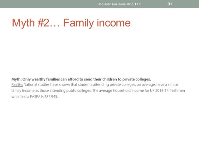 Myth #2… Family income Bob Johnson Consulting, LLC 31