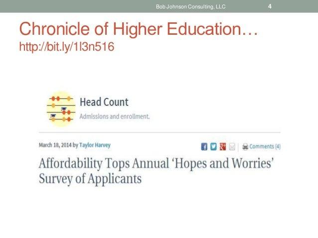Chronicle of Higher Education… http://bit.ly/1l3n516 Bob Johnson Consulting, LLC 4