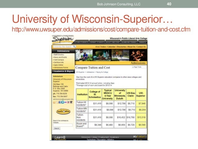 University of Wisconsin-Superior… http://www.uwsuper.edu/admissions/cost/compare-tuition-and-cost.cfm Bob Johnson Consulti...