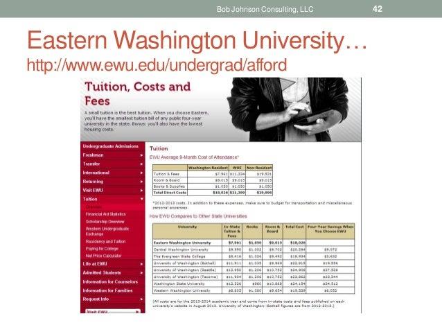 Eastern Washington University… http://www.ewu.edu/undergrad/afford Bob Johnson Consulting, LLC 42