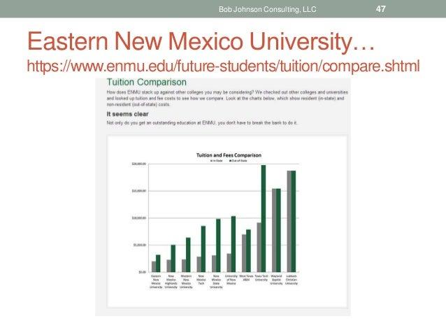 Eastern New Mexico University… https://www.enmu.edu/future-students/tuition/compare.shtml Bob Johnson Consulting, LLC 47