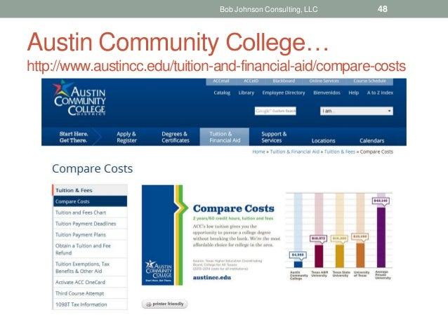 Austin Community College… http://www.austincc.edu/tuition-and-financial-aid/compare-costs Bob Johnson Consulting, LLC 48