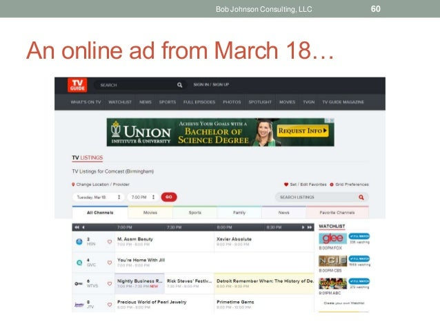 An online ad from March 18… Bob Johnson Consulting, LLC 60