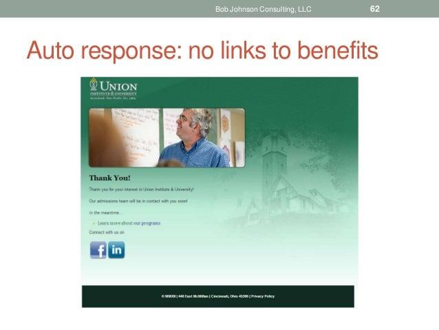 Auto response: no links to benefits Bob Johnson Consulting, LLC 62