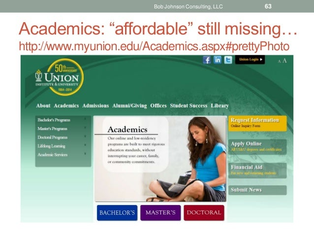 "Academics: ""affordable"" still missing… http://www.myunion.edu/Academics.aspx#prettyPhoto Bob Johnson Consulting, LLC 63"