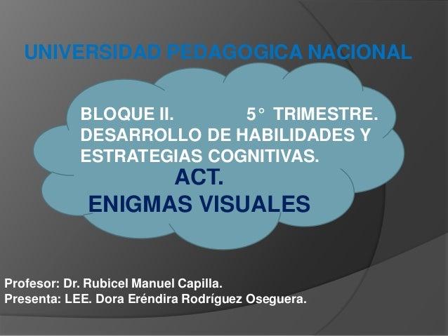 UNIVERSIDAD PEDAGOGICA NACIONAL Profesor: Dr. Rubicel Manuel Capilla. Presenta: LEE. Dora Eréndira Rodríguez Oseguera. ACT...