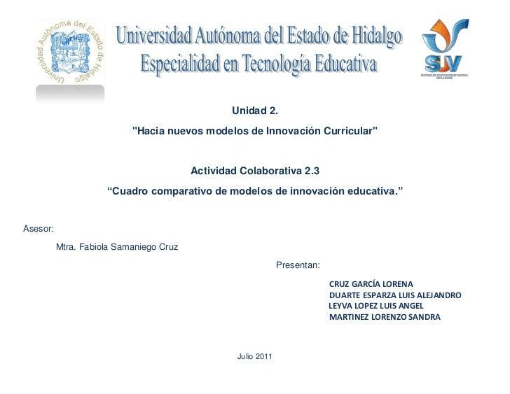 """247650-768357705725-228600<br />Unidad 2. <br />""""Hacia nuevos modelos de Innovación Curricular""""<br />Actividad Colaborativ..."""