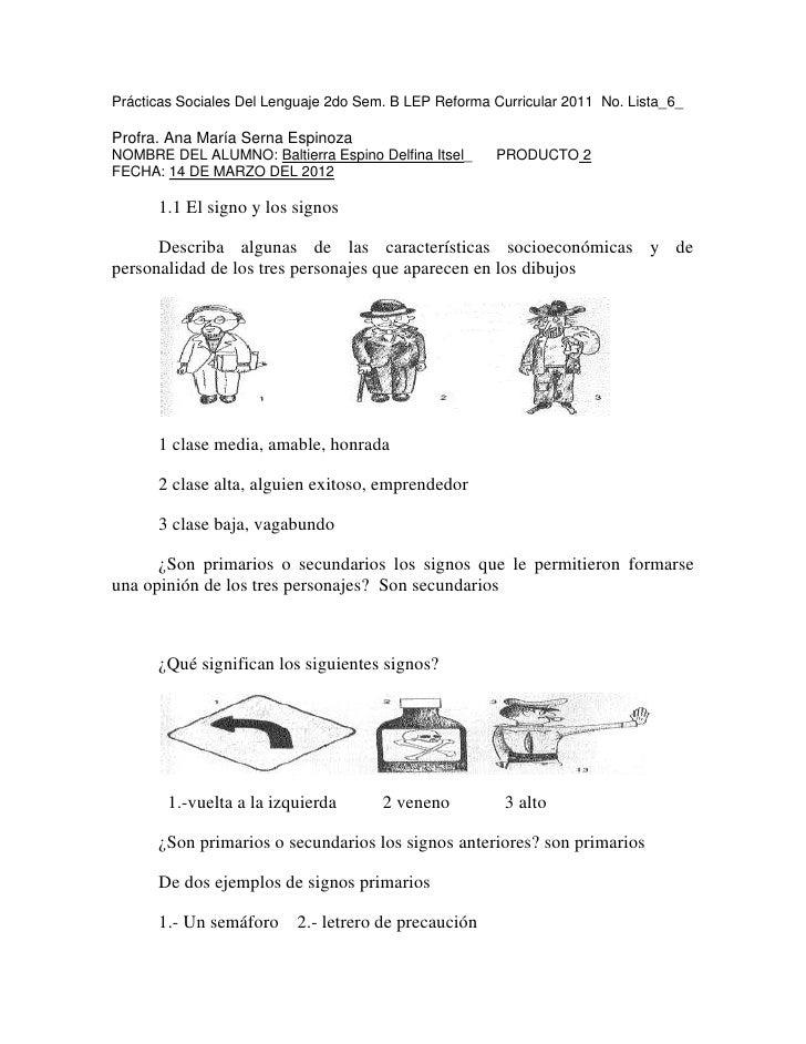 Prácticas Sociales Del Lenguaje 2do Sem. B LEP Reforma Curricular 2011 No. Lista_6_Profra. Ana María Serna EspinozaNOMBRE ...
