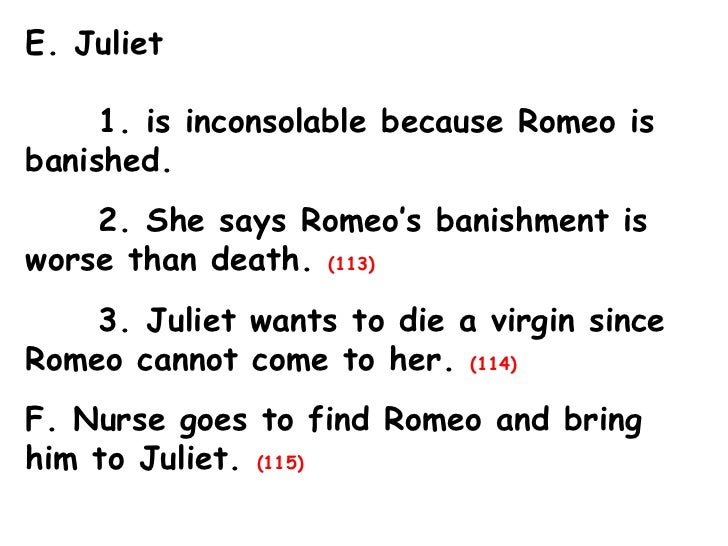 Romeo & Juliet Act 3 Outline