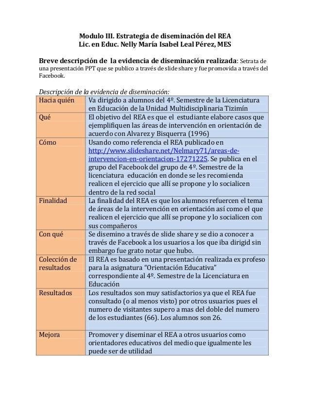 Modulo III. Estrategia de diseminación del REA               Lic. en Educ. Nelly María Isabel Leal Pérez, MESBreve descrip...