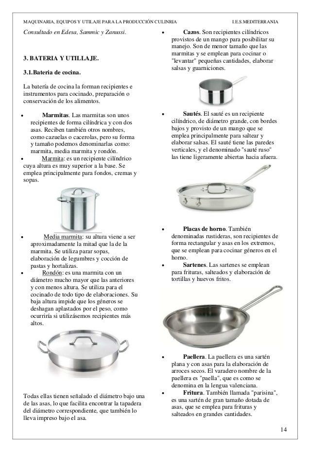 Act n 3 maquinaria equipos y utillaje pdf for Areas de la cocina y sus funciones