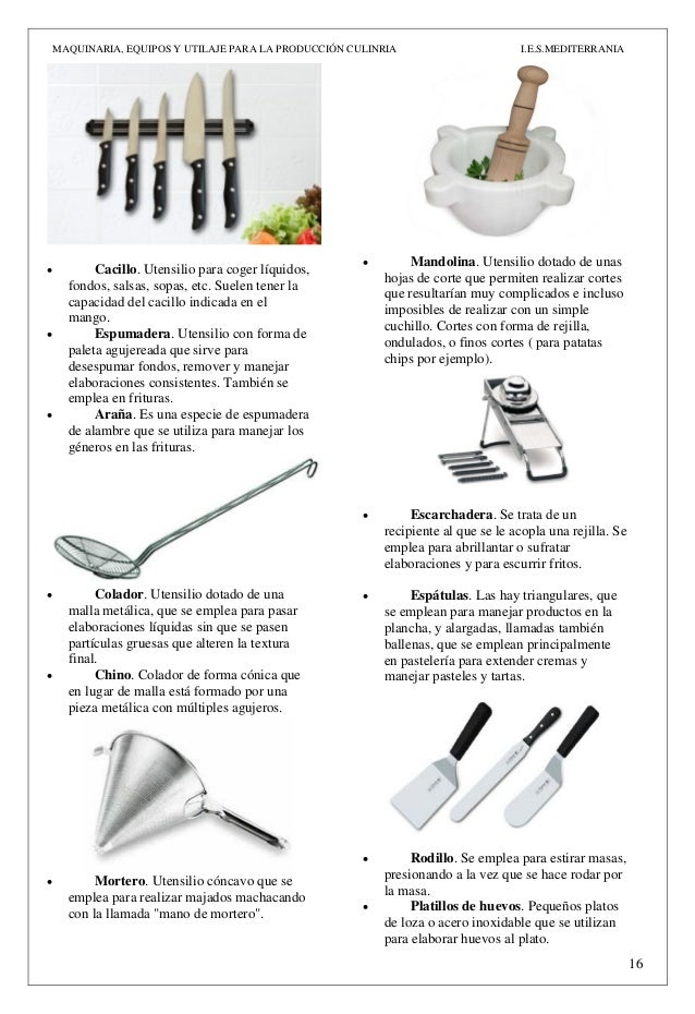 Act n 3 maquinaria equipos y utillaje pdf for Mobiliario y equipo de cocina para un restaurante pdf