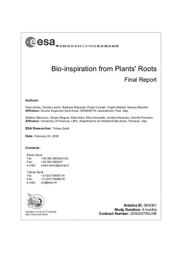 Bio-inspiration from Plants RootsFinal ReportAuthors:Paolo Dario, Cecilia Laschi, Barbara Mazzolai, Paolo Corradi, Virgili...