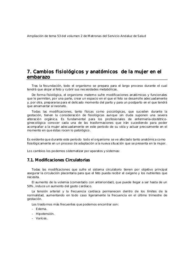 Ampliación de tema 53 del volumen 2 de Matronas del Servicio Andaluz de Salud 7. Cambios fisiológicos y anatómicos de la m...